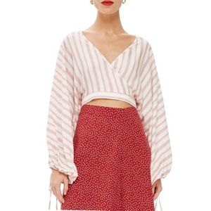 Topshop stripe ballon sleeve crop top